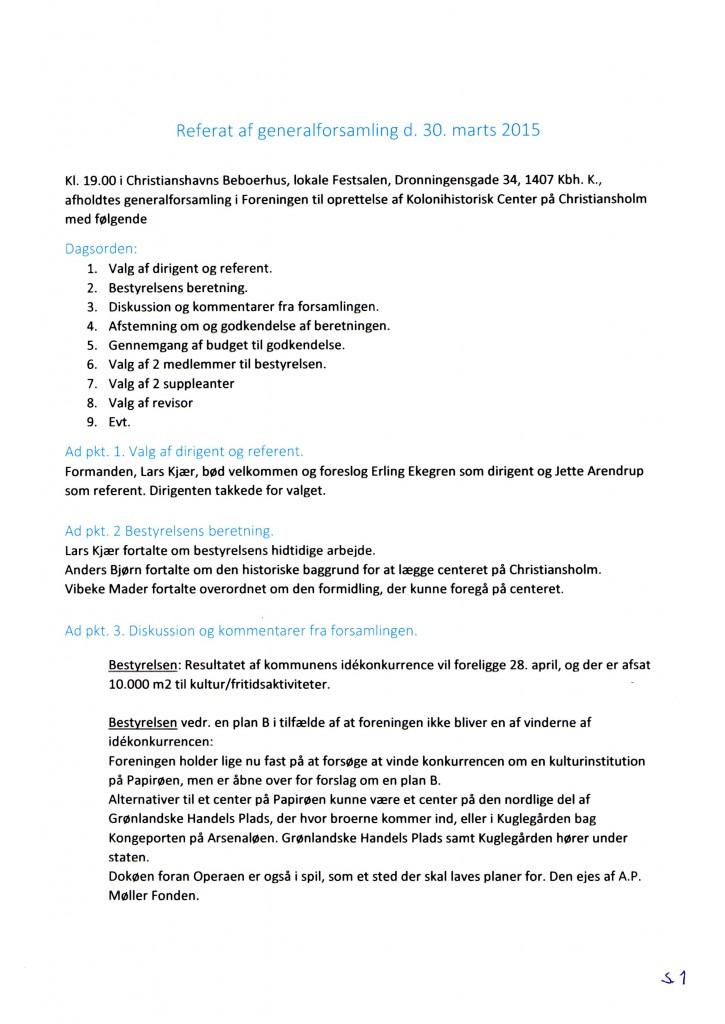 Kolonihistorisk Center Generalforsamlingsreferat 2015 side 1